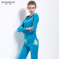 Diagence2014 autumn and winter set velvet slim casual women's hot-selling diamond set