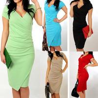 Best Quality 2014 Summer Women's Short Sleeve V-neck Elegant Casual Formal Work Evening Pencil Plus Size Dress Q287