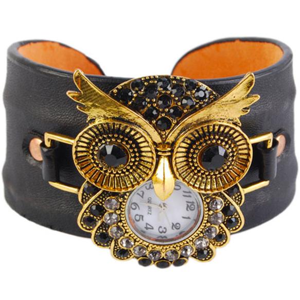 Noir en cuir d'unité centrale de mode 2015 unisexe. chouettecollier bracelets montre une grande idée de cadeau