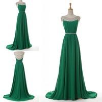 Real Made 2015 Sexy Vestidos Sheer Scoop Neck Crystal Rhinestone Beading Mermaid Green Long Formal Prom Evening Dresses
