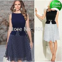 high waist elegant dot patchwork belt plus size one-piece dress