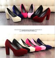 2015 New Fashion Womens Platform Pumps Flock Chunky Heels Womens High Heels Sexy Ladies Shoes Wholesales 34-39