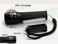 new led flashlight Portable CREE LED Zoomable torch Flashlight 3 Modes by 1 X 18650 OR 3x AAA battery bikelight