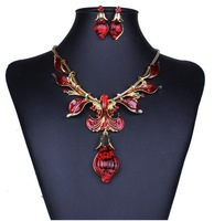 2014 fashion jewelry women top brand national style vintage Bohemia rhinestone colorful oil drop pendant&necklace