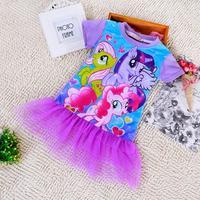 2015 Pony Summer Children Kids Girls Dress New Cotton Short Sleeve Frozen Girls Dresses Vestidos Infantis Kids Clothes 025