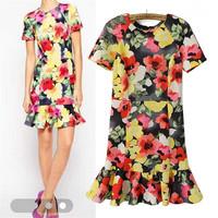 Free Shipping New 2015 Floral Print Short Sleeve Casual Dress Elegant Celebrity Bodycon Dress Women Summer Dress