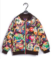 Joy Chang's Retail 1pcs Kids winter warm cartoon down jacket children's baseball coat parka snowwear 100-130cm 2 colors