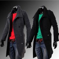 New fashion men winter jacket woolen coat outwear long design winter overcoat 2 colors M-XXL