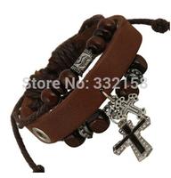 Cross cowhide leather retro  bracelet jewelry