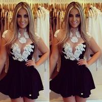 New 2015 European Style White Crochet Lace Woman Dresses Sexy Vestido Branco RendaClub Mini Dress Retro Short Desigual Dress