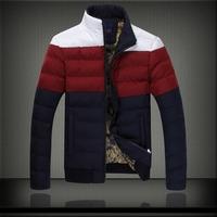 New Design 2014 Men Winter Fashion Down Jackets Blue White Plus Size M- XXXXXL 5XL Patchwork Man Thick Warm Coats 6010
