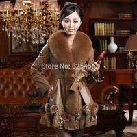 hot-selling 2014new fox fur collar Sheep skin leather coat women's fur coat Free shipping