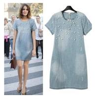 Free shipping 2014 casual summer women short sleeve dress O-neck denim jeans beading dresses l1366
