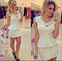Lace sleeveless white women dress vestidos brancos vestido branco renda curto casual free shipping