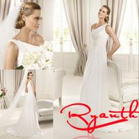 RBW166 Vestido De Noiva Curto Sexy One-Shoulder A-Line Chiffon Long Wedding Dresses 2015 Hot Sale Wedding Gowns Dress Bride