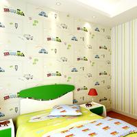 Child real non-woven wallpaper blue stripe car wallpaper eco-friendly ab