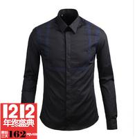 Gvc 2014 d shirt patchwork 100% cotton long-sleeve shirt slim male