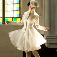 2015 New design fashion organza patchwork women's wool coat stand collar long overcoat slim outwear plus size woolen jacket