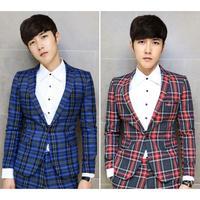 New Fashion Korean Style Celebrities Gentleman Slim Suits Jackets Print Plaid  Men's Business Single Button Blazer Coat 2 Colors