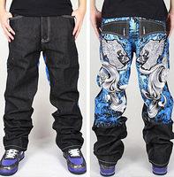 Unicorn Graffiti embroidery Cool Men's Hip Hop Jeans Casual Pants Size 30-42 skateboard pants robin jeans for man