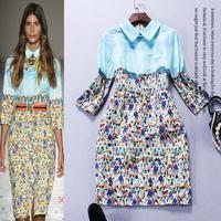 Best Grade New Fashion Runway 2015 Spring Summer Women Turn-Down Collar Print Patchwork Vintage Dress Ladies Silk Cotton Dress