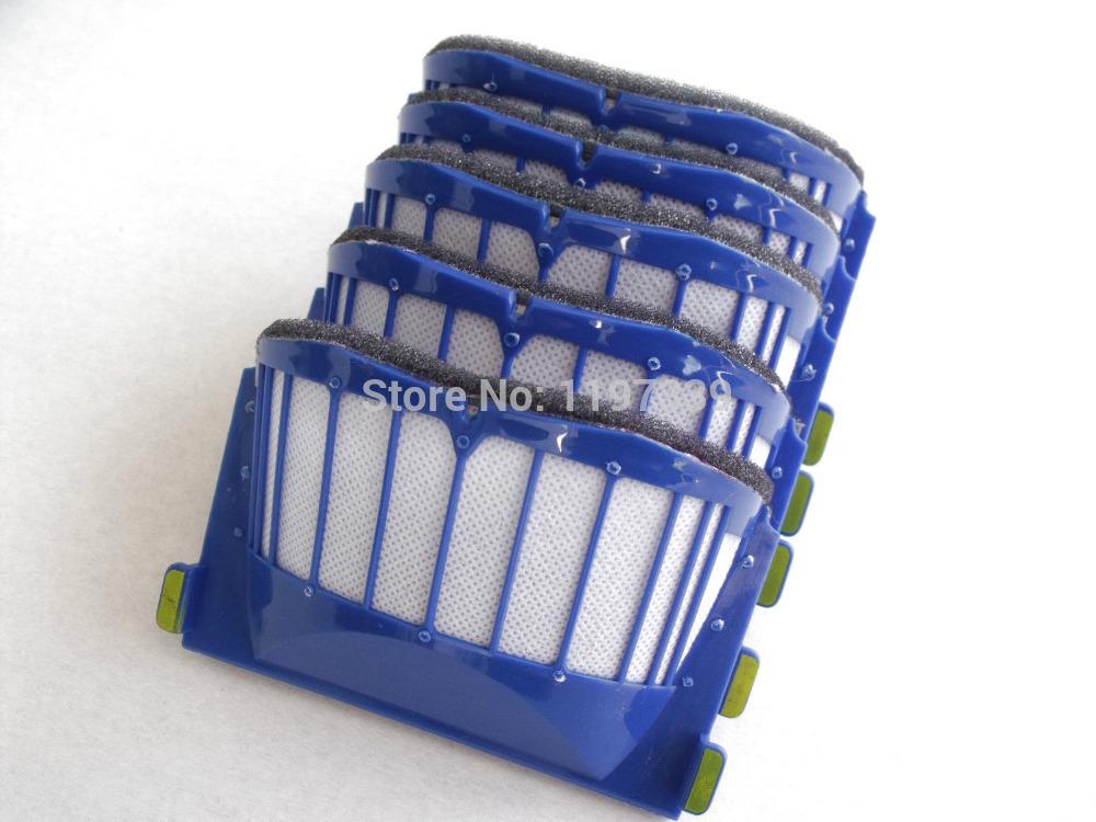 5pcs Filter kit for iRobot Roomba Aero Vac 600 Series 620 630 650 660 585 590 595 600 610 replacement cleaning tool(China (Mainland))