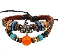 BA173 Wholesale Vintage Handmade Maple beads Leather Adjustable Bracelet Wristband Jewelry Bijouterie Unisex Girls Woman