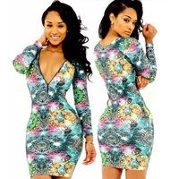 New Designer Fashion Long Sleeve Sexy Deep V Neck Women Flower Printed Dress Hot Sale Evening Club Party Bodycon Dress  WZA893