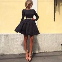 New Fashion 2014 Novelty Women's Fashion black A-line elegant dress O-neck full sleeve casual dress