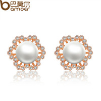Bamoer Gold Plated AAA Zircon CZ Stud Earrings with Imitated Pearl For Women Casual Jewelry JIE050