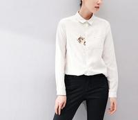 Good quality 2015 autumn spring women basic shirt Long Sleeve lapel casual blouse Female white cat cotton tops clothing
