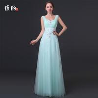 casual dress 2014 winter deep V-neck bridal evening dress double-shoulder long design evening dress bridesmaid dress