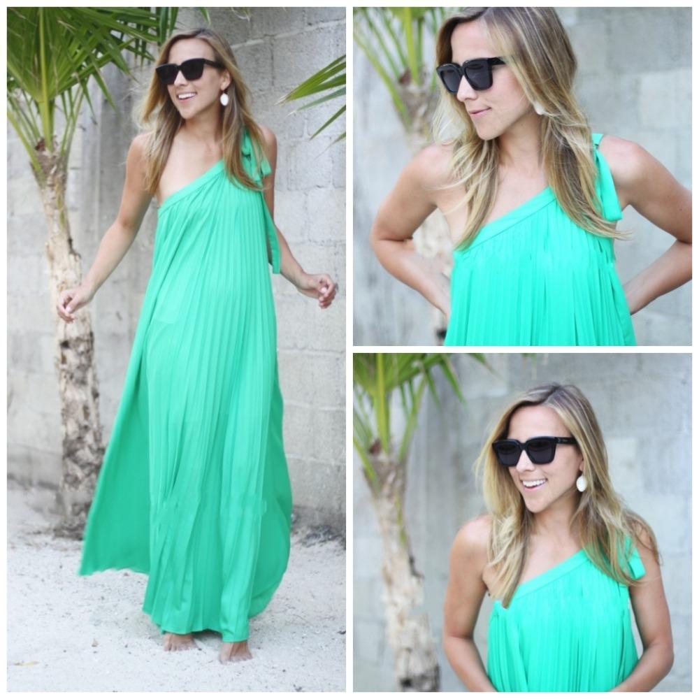 Long Elegant High Neck One Shoulder Emerald Green Bridesmaid Dresses Chiffon A Line New Fashion Vestido De Festa 2015 HB1341 Par(China (Mainland))