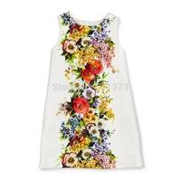 High-end Custom 2014 New Ivory Girls Flower Printed Autumn & Winter Dress 2-12Y Kids Flower Dress