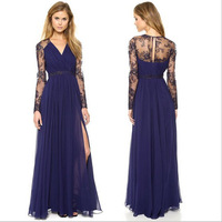 2015 New fashion Exquisite tulle metal color embroidery back one button big dress one-piece dress   w535
