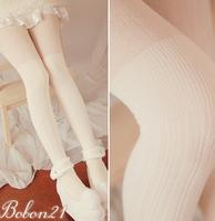 Princess sweet lolita BOBON21 new winter Vertical stripes Show thin upset Milk white Tights AC1144