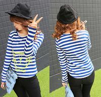 t shirt striped vintage Clothing Tops & Tees women's big size t shirts long sleeve 2014 fashion sexy cotton tshirts feminina