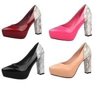 New arrival 2015 women pumps fashion sexy snake splicing high heels shoes women casual wedding shoes Free shipping 34-39