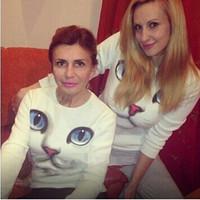 Women 2014 Fashion Cute 3D Cat Face Printed  Hoodies Sweatshirt Female Cotton Casual Long Sleeve Brand Pullover Casual Dress