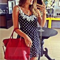 New Summer Women Casual Sleeveless Polka Dots Print Lace Spaghetti Strap Dress Vest Slim Lace Dress Vestidos CX852411