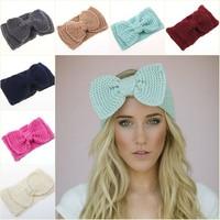 New big bow crochet knitted headband ear warmer women lady fashion hair accessories