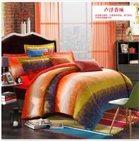 Phoenix  Brushed fabric  100% cotton king queen sanding bedding set  luxury bedclothes thick duvet comforter cover  sheet
