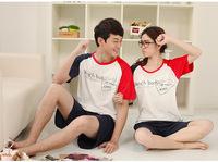 Pyjamas summer short-sleeved pajamas couple piece fitted cartoon bearded striped