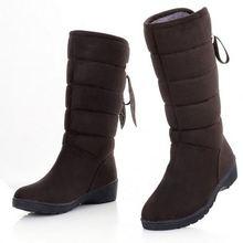 Fashion Flat Slip On Women's Snow Boots Winter Warm Fur Solid Rhinest