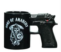Novelty 1Pcs  Pistol Ceramic Mug Glaze Cup sons of anarchy Mugs skull image New Arriving