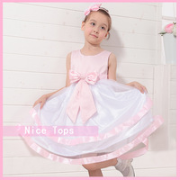 Flower girl dress girl princess party formal dress girl special occasional dress with nice bow and ribbon hem 3-14 years