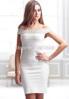 Free shipping 2015 New arrival Women's white slash nech crystal  Bandage Dress HL Evening Dresses HL dropship