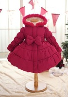 Joy Chang's girls winter super warm thick christmas party dress coat w Bow kids warm trench 90-130cm retail
