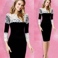 Women Celeb Midi Elegant Dresses 2014 New Long Sleeve Lace Crochet Hollow Out Slim Bodycon Casual Lace Party Pencil Shift Dress