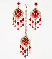 Indian Bridal Jewellery Rhinestone Earring Set Crystal Stud Headpiece Bollywood Wedding Dancing Egypt Belly Dance Accessories